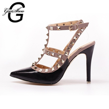2016 New Brand Pointed Toe Rivets High Heel Shoes Woman High Heels Shoes Fashion Sexy Women Pumps Ladaies Sandals(China (Mainland))