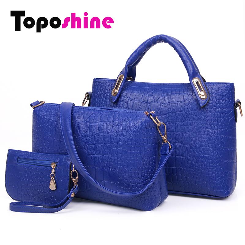 Toposhine 3Pcs/Set Women Bags Fashion Girls Handbags Set 5 Color Composite Bag Women Bags Crocodile Women Messenger Bags LX-T03 <br><br>Aliexpress