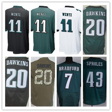 Lower Price men's jersey,Elite 11 Wentz 7 Bradford 20 Dawkins 43 Sproles 91 Cox Jerseys,Size M-XXXL,Best Quality,Authentic Jers(China (Mainland))