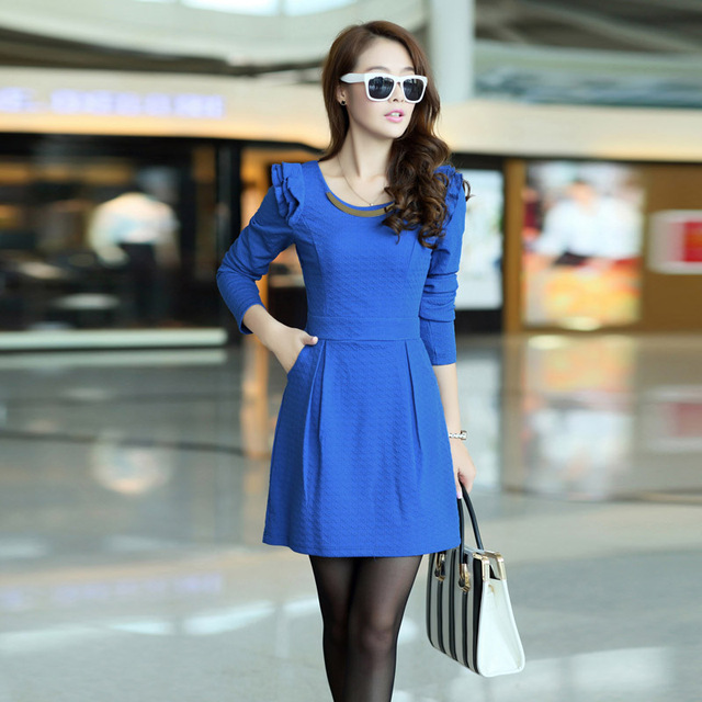 Free shipping new arrival autumn o-neck petals knitted elegant women's solid color one-piece dress 0221882258