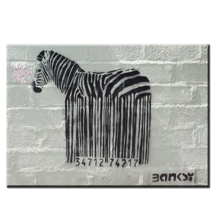 Modern wall art oil paintings wholesale black and white living room wall arts pictures BARCODE ZEBRA GRAFFITI ART OF BANKSY(China (Mainland))