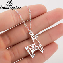 Shuangshuo Deer Origami Necklace For Women Silver Choker Necklaces Stainless Steel Geometric Necklace Nature Animal Jewelry Gift(China)