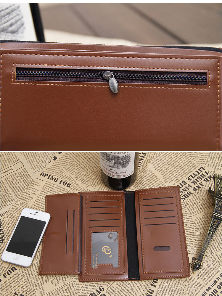 2015 Famous brand men genuine leather long Wallet High quality male Large Capacity purse with coin