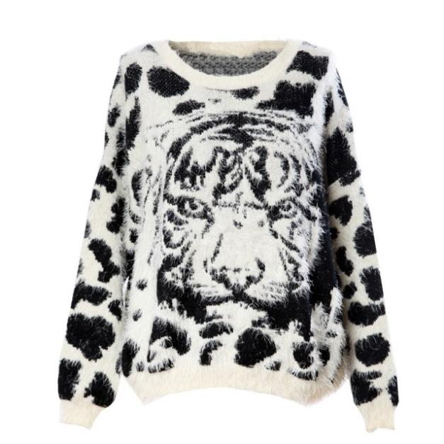 WOMEN popular tiger face punk sweaters black White casual o neck tops(China (Mainland))