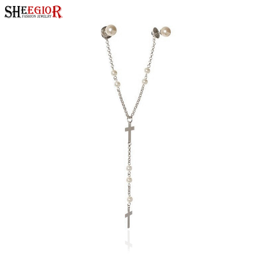 Brand Simple Brooch Pins Women Gold/silver Plated Chain Cross Broches Collar Clip Women/Men Clothes Accessories - SHEEGIOR Official Store store