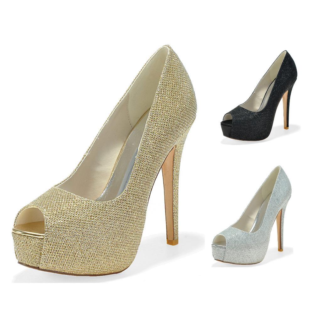 Black And Silver Peep Toe Heels