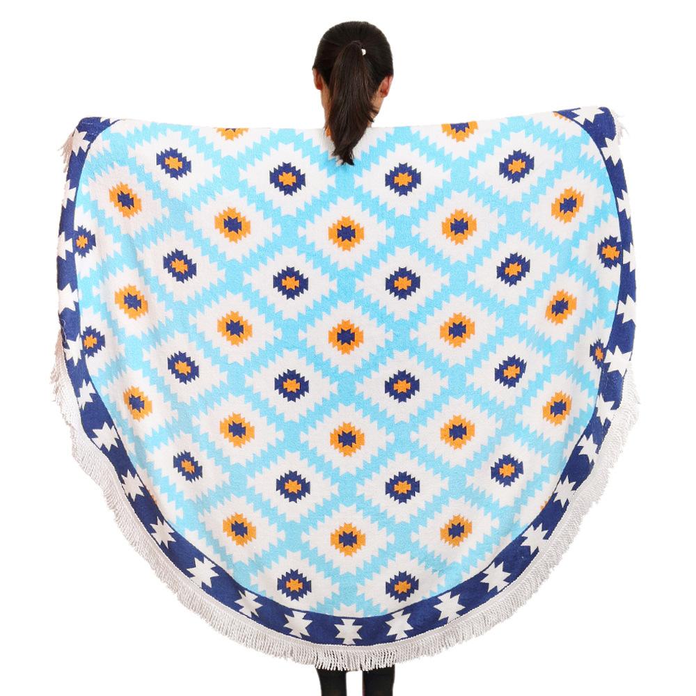 new style creative gifts100% Cotton Round Beach Towel 140*140 Bath Towel Tassel Decor Geometric Printed Bath Towel Summer Style(China (Mainland))