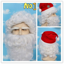Top Quality ! Christmas Santa Claus White Short Kinky Curly Synthetic Head Hair Wigs Cheap Old Man Male Cosplay With Beard(China (Mainland))