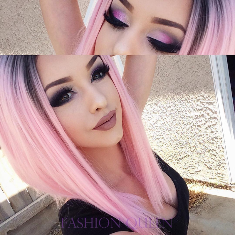 Dark Black Root Pink Synthetic Lace Front Wig 10 16 Inch Short Straight Hair