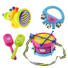 5pcs/set Toy Musical Instrument Kids Music Toys Roll Drum Musical Instruments Band Kit Infant Playing Children Toy Gift (China)