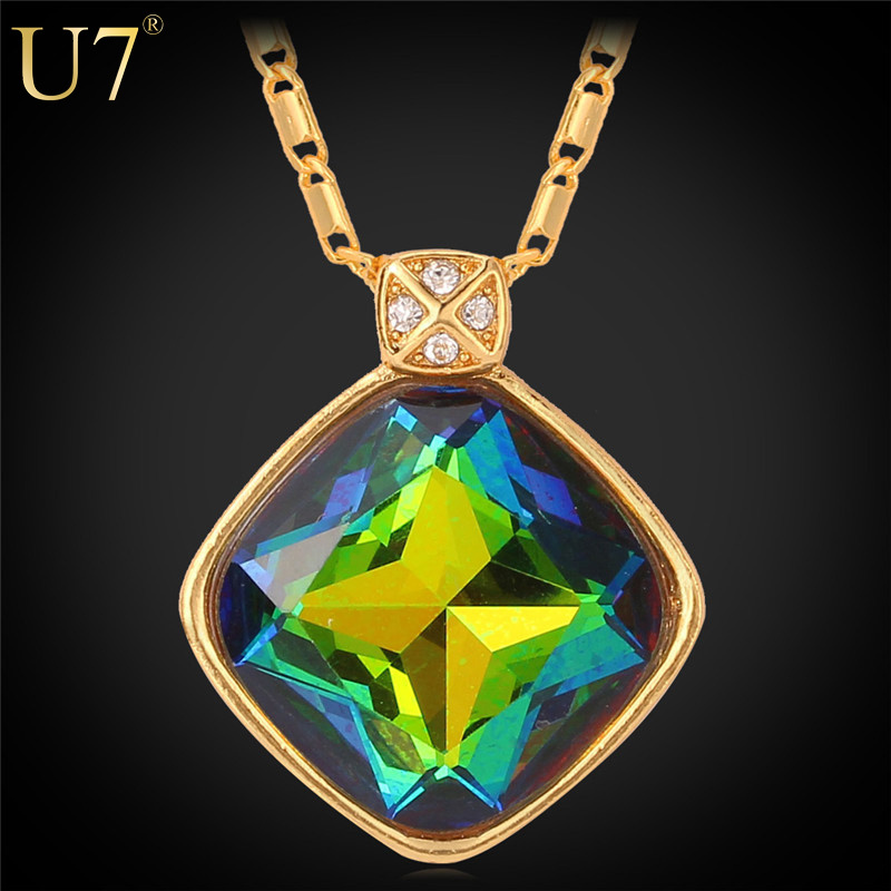 U7 Fancy Colorful Stone Necklaces Women Gift New 18K Real Gold Plated Fashion Jewelry Casual Crystal Pendant Necklaces P420(China (Mainland))
