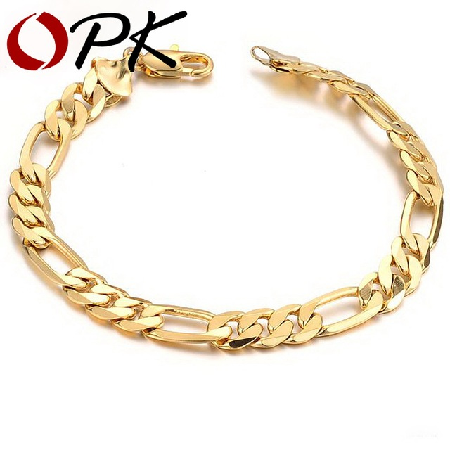 OPK JEWELRY Aliexpress Hot Sell Classic Vintage Gold Plated Figaro chain bracelet Attractive Men Jewelry, 157