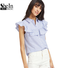 Buy SheIn Frill Cap Sleeve Button Striped Blouse Cute Blue Lapel Top Women Summer Ruffle Shirt 2017 Top Blouse for $14.97 in AliExpress store