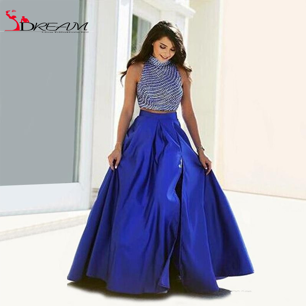 Vintage Royal Blue Taffeta Two 2 Piece Prom Dresses Slit 2016 Hot Sale High Beck Women Pageant Gown for formal Evening Party(China (Mainland))