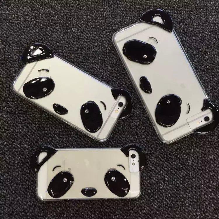 i6/6s Cute Cartoon Pandas phone case for iphone6 6s 6plus case Strap Transparent Silicone TPU case skin back cover(China (Mainland))
