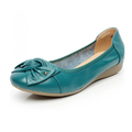 Genuine Leather Flat Shoes Woman Slip On Work Loafter Chaussures Femme Bowtie Casual Single Ladies Shoes
