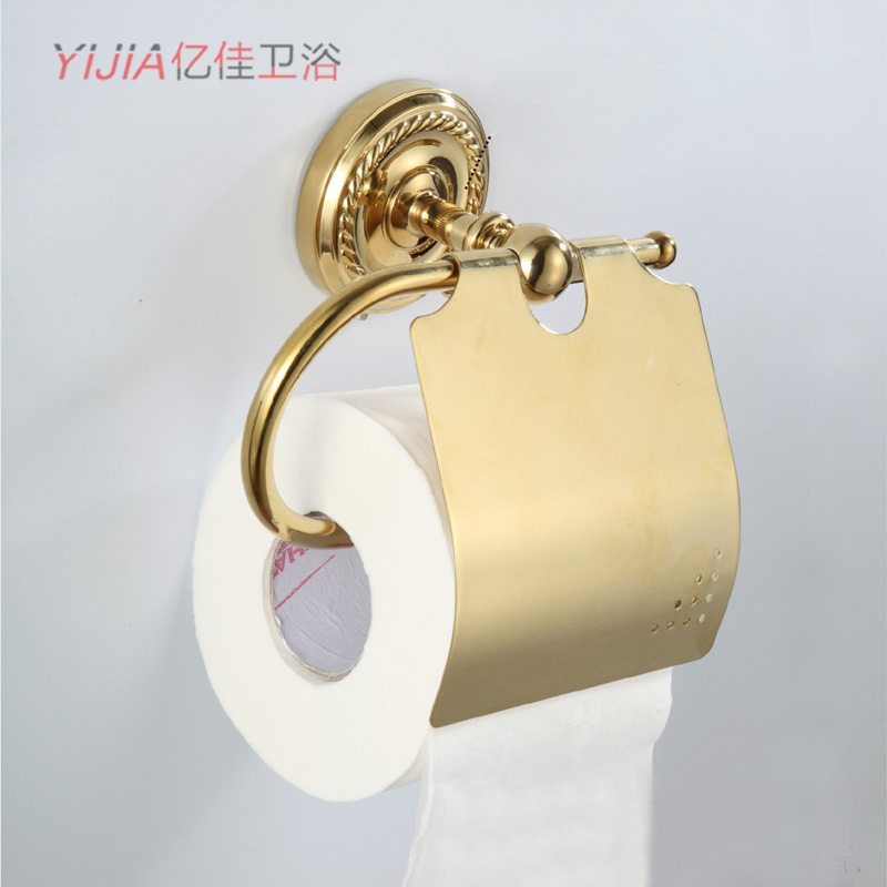 Gold copper gold tissue box toilet paper box paper towel holder bathroom hardware accessories - Gold toilet paper holder stand ...