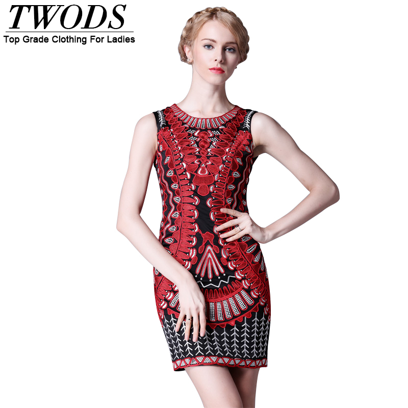 Twods 2015 new sexy slim embroidery tight short women summer dresses sleeveless o-neck mini ladies party dress
