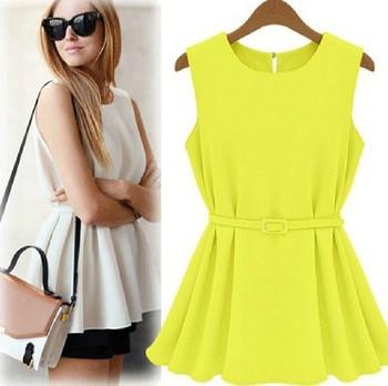 Trend Womens Chiffon Vest Top Tank Sleeveless Shirt Slim Vogue Blouse Shirt Chiffon Belt S M L XL 4 colors Free shipping LQ9023