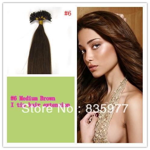 100gram/pk 45cm 50cm 55cm 60cm Peruvian remy Keratin stick tip hair/ I tip hair extension Stock #6 Medium Brown optional(China (Mainland))