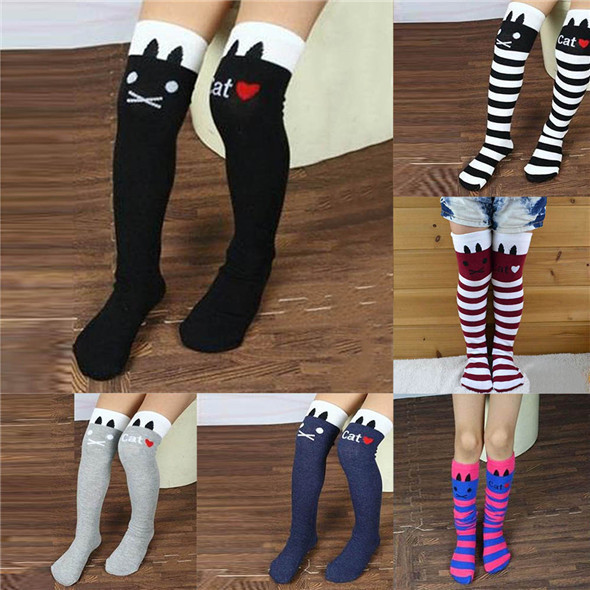 New Toddlers Kids Girls Knee High Socks School Cotton Tights Striped Stockings for Girls 1-8Y Freeshipping