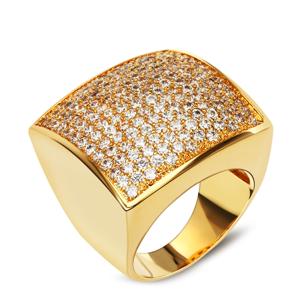 18K Gold plated square shape ring high quality ring Classic Rings Is Women Sparkly Zircon Ring New elegant jewelry wholesaler(China (Mainland))