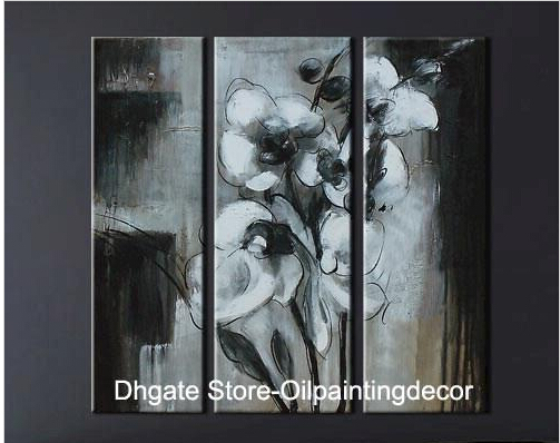Hand Painted Abstract White Orchid Painting Canvas Texture Flower Wall Art Modern Oil Picture Set Decoration Home - Personality style simple fashion store