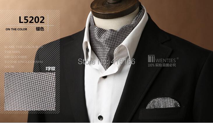 Black white Ascot Cravat(Scarf )+Pocket Square 1set/lot L5202 100% Silk Paisley Jacquard Ties - Bo Shop store