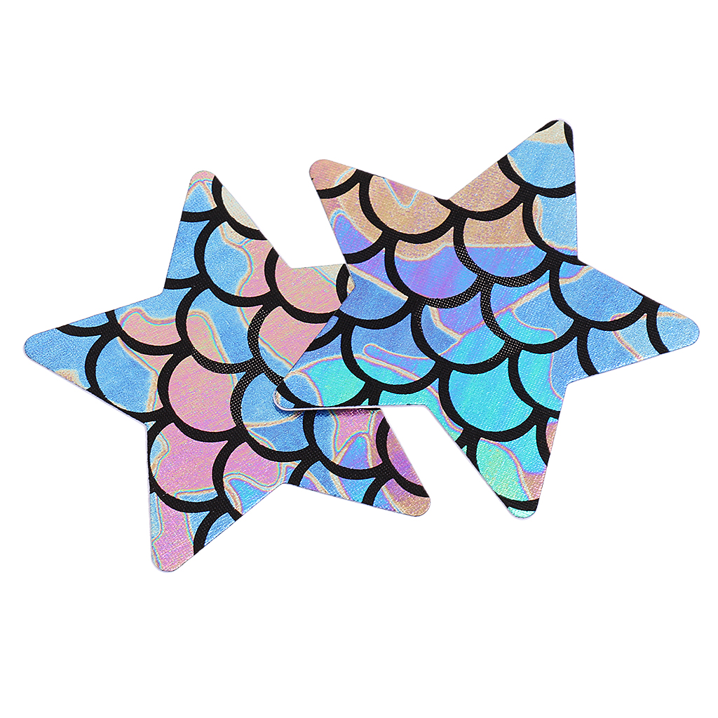 4 Pieces Ladies Mermaid Nipple Cover Cross Adhesive Breast Nipple Cover Stickers Bra Pads Breast Petals Patch Disposable 8 x 8cm