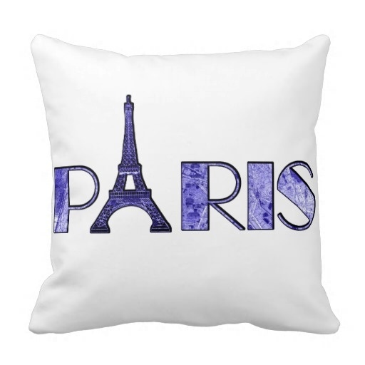 """Sore Electric Blue Paris Word Art From Vintage 1889 Map Throw Pillow Case (Size: 20"""" by 20"""") Free Shipping(China (Mainland))"""