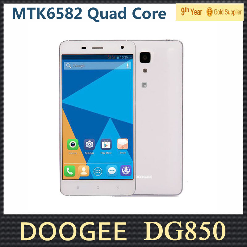 "Original Doogee HITMAN DG850 Cell Phone MTK6582 Quad Core 5.0"" HD IPS Android 4.4 1GB RAM 16GB ROM 13MP Dual SIM WCDMA 3G"