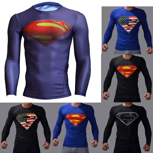 armour shirt superman/batman training gym t shirt under tops fitness ...