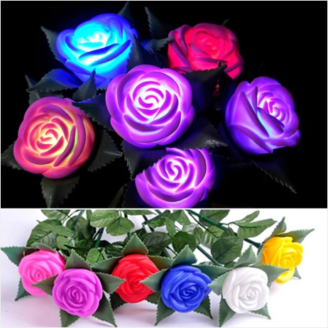 Battery operated LED Rose Floral Best decorative night lights valentine's day gift for girls luminaria room indoor lighting(China (Mainland))