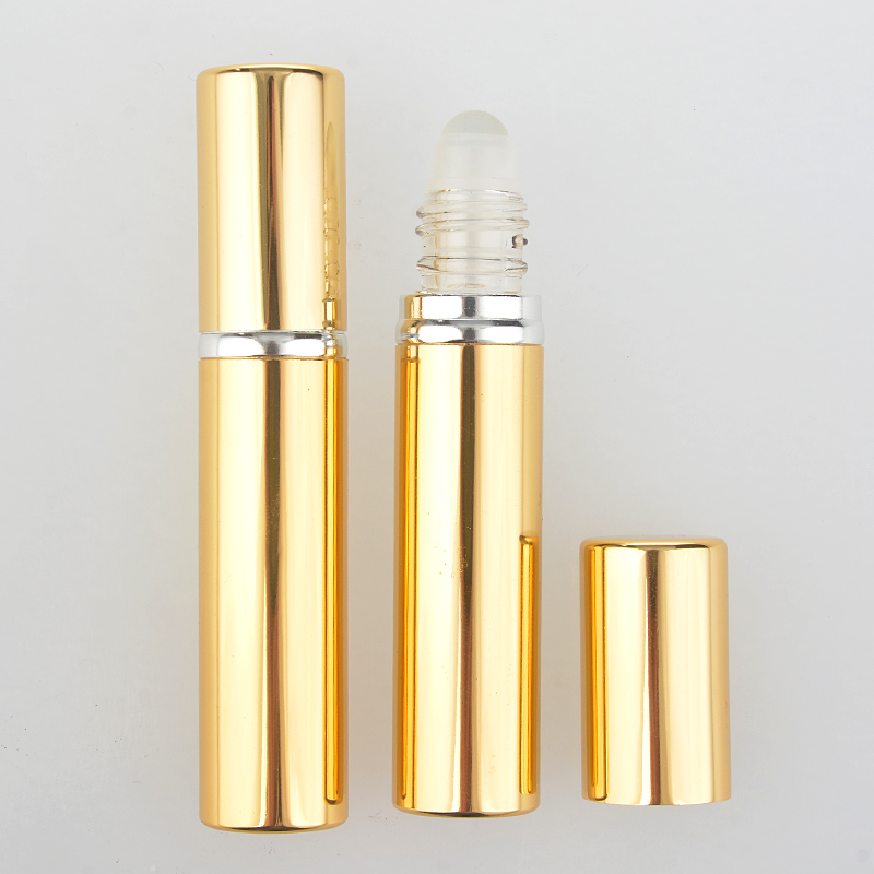 2 Pieces/Lot 10ML New Style Fashion Aluminum Perfume Bottle With Roll On Empty Refinement Essential Oils Case For Travel(China (Mainland))