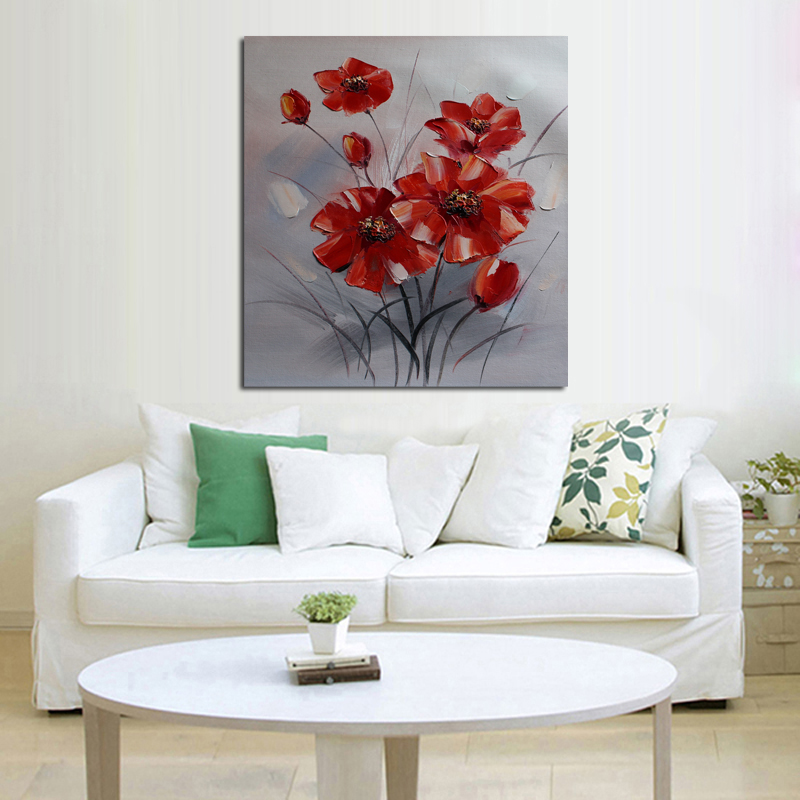 New Decorative Oil Paintings Wall Picture New Simple Red Flowers Art Modern Abstract Home Decor Best Quality for Home Decor(China (Mainland))