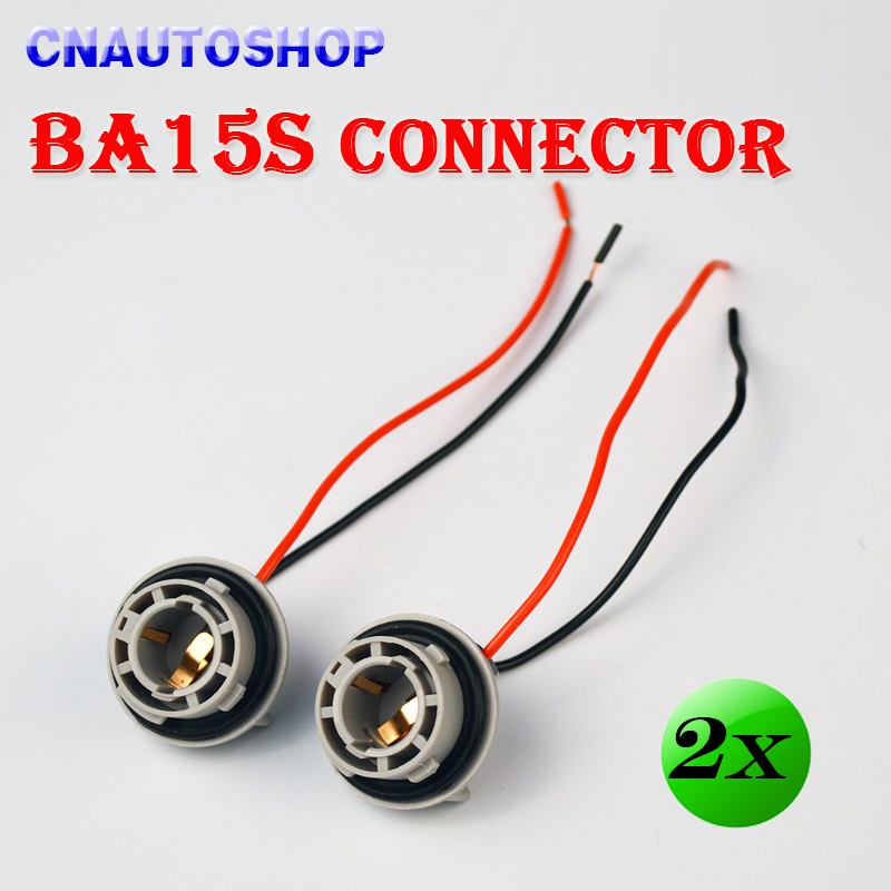 (2 Pieces/Lot) BA15S Connector 10CM Female 1156 Car Light Socket Automotive Bulb Wire Truck Light LED Bulbs Cable(China (Mainland))