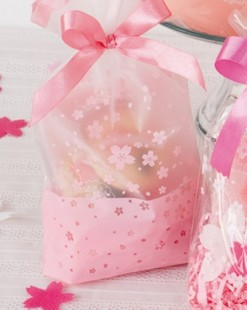 10Pink Cherry Cookie Bag,Plastic Semi Clear Cellophane Flat Open,For Bakery Gift Wedding Party Favors Packaging,16x26cm - princess party supplies store