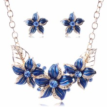 Hot Seling 18K Gold Plated Austrian Crystal Enamel Flower Jewelry Sets Fashion 2016 African Necklace Earring Set Women TL94021(China (Mainland))
