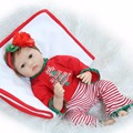NPKCOLLECTION Brand reborn babies dolls 22 lifelike girl doll reborn red dress child xmas gift Bebe