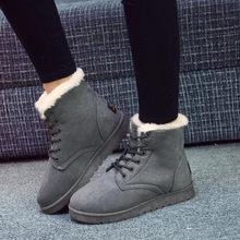 KARINLUNA 2019 Yeni Kar Botları Düz Düz bağcıklı ayakkabı Ile Kadın Kış yarım çizmeler Siyah Sıcak Kürk Peluş Ayakkabı Büyük Boyutu 35 -43(China)