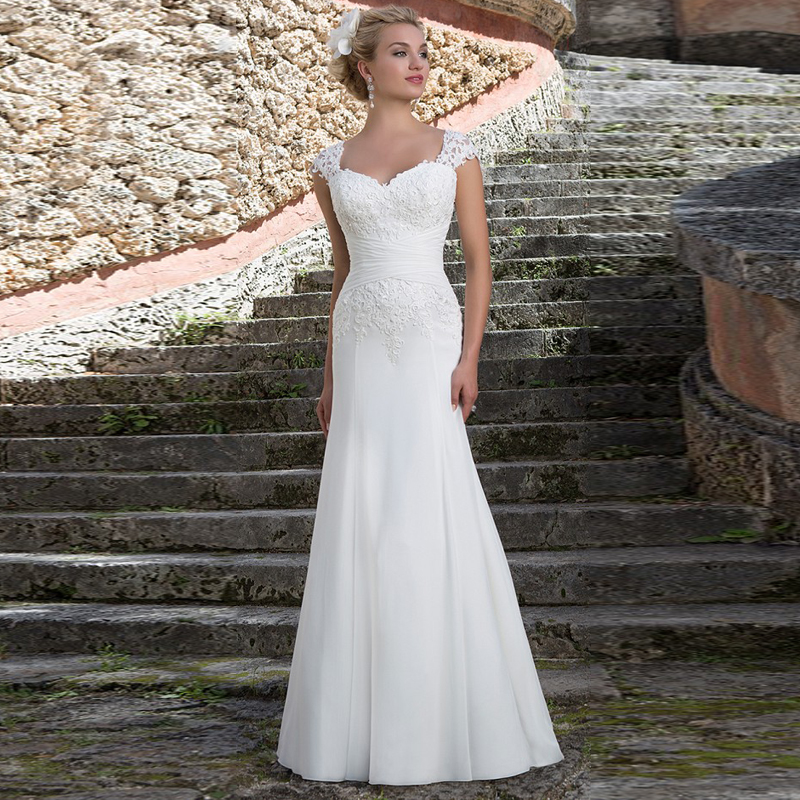 2016 well designed chiffon sweetheart cap sleeves lace for Sheath wedding dress with cap sleeves