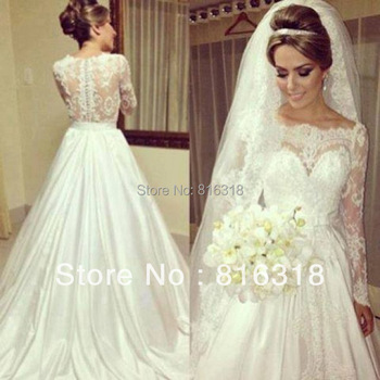 Vestido De Noiva 2015 Renda Sexy Backless Wedding Dresses Ball Gown Long Sleeve White Lace Wedding Dress  2015 Casamento