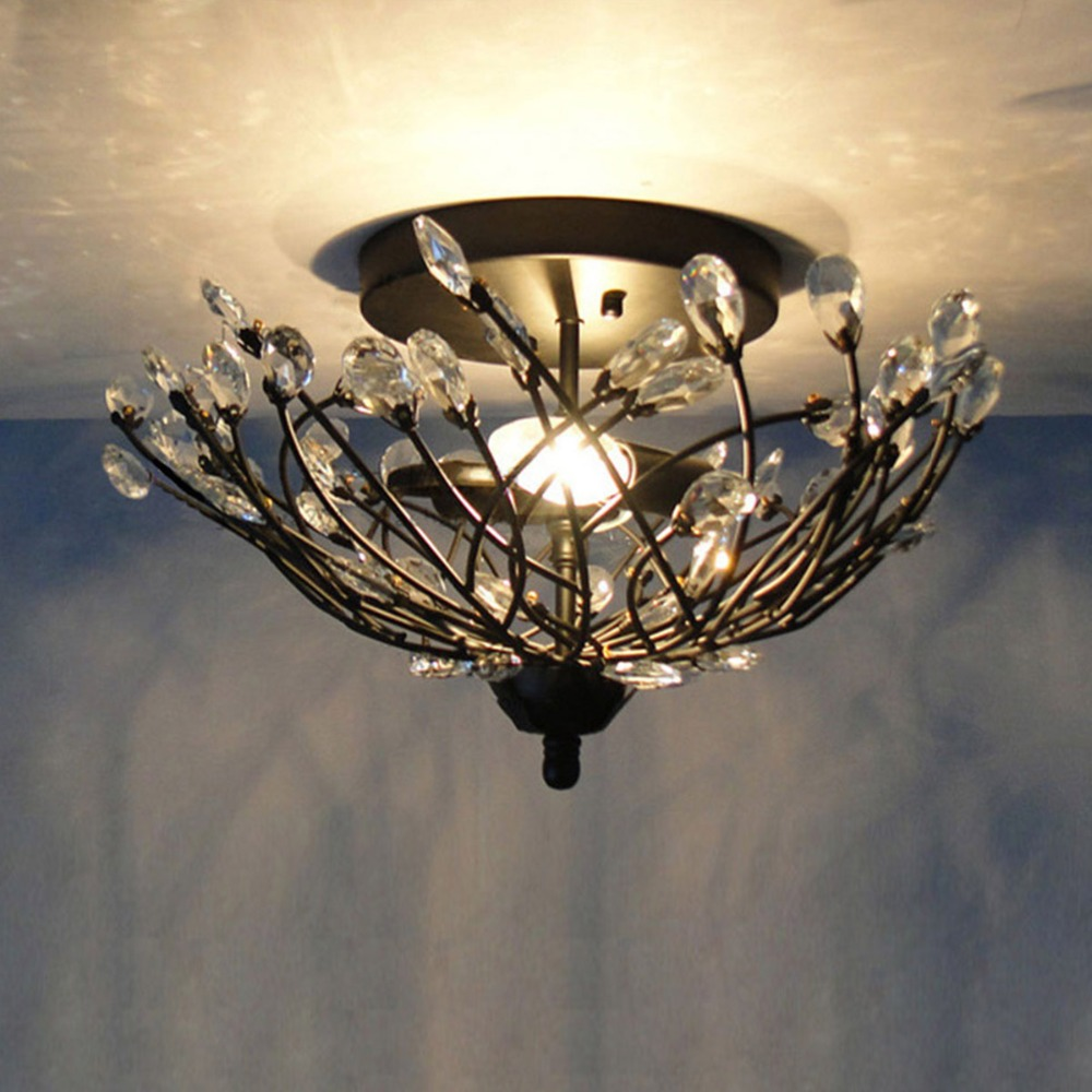 New black iron body crystal lampshade tree branch design - Tree branch ceiling light ...