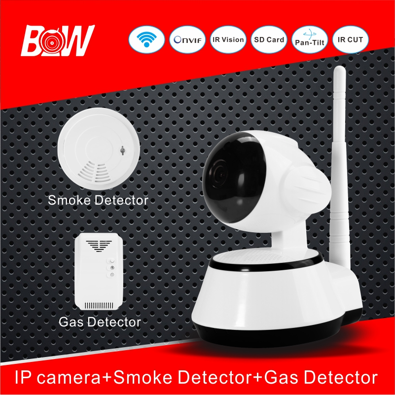 hot home security wifi camera with smoke detector gas detector infrared cctv ip cam alarm system. Black Bedroom Furniture Sets. Home Design Ideas