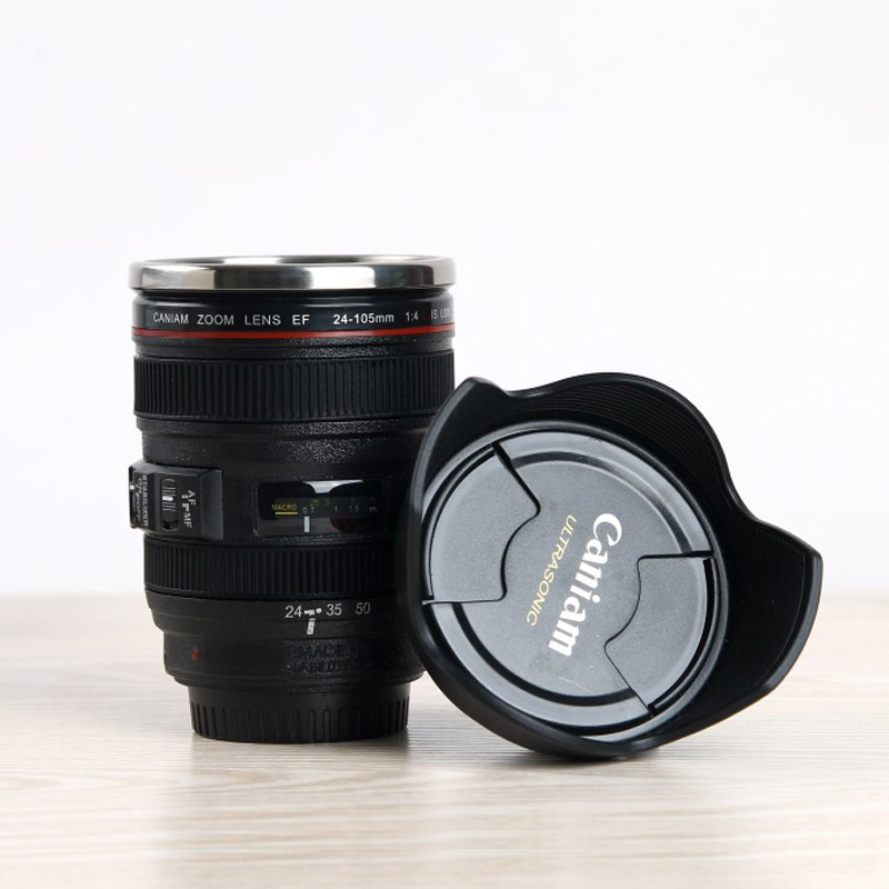 350ml Stainless Steel SLR Camera EF24-105mm Coffee Lens Mug Cup 1:1 Scale Coffee Cup 100% Creative Gift(China (Mainland))