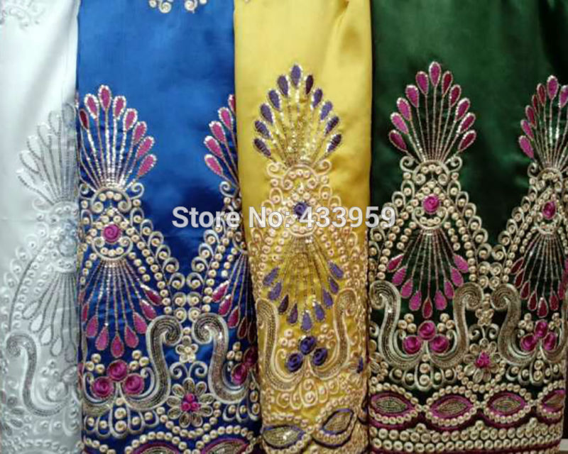New Arrival Embroidery Veritable Satin Lace Fabric For Party Dress Limited Best Quality Embroidery African George Lace Fabric(China (Mainland))