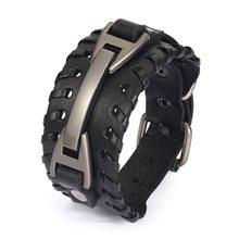 100% skórzana bransoletka w stylu Vintage Punk brązowy mankiet szerokie bransoletki dla kobiet mężczyzn biżuteria unisex prezent XCJ0339(China)