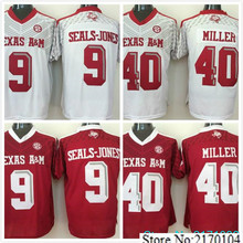 New Texas A&M Aggies 40 Von Miller 9 Ricky Seals-Jones College Jersey Embroidery Red white Size M-XXXL(China (Mainland))