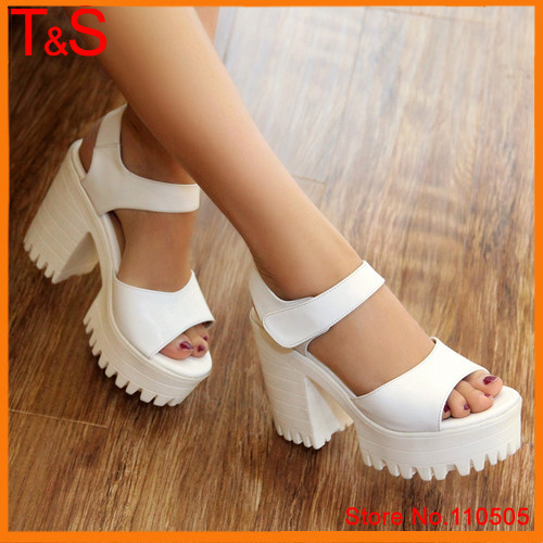 Plus Size 40 Punk Lady's Sandals Summer Peep Toe Natural Real Leather Platform Thick High Heels Female Solid White Shoes A1-0A