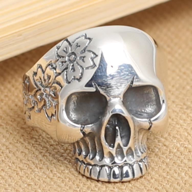Handmade 925 silver skull ring vintage sterling silver skeleton man ring silver punk ring man jewery gift